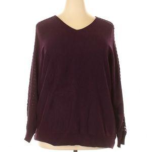 NWT LANE BRYANT V-Neck Open Weave Detail Sweater